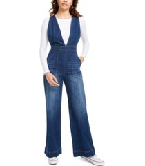 dollhouse juniors' sleeveless v-neck denim jumpsuit