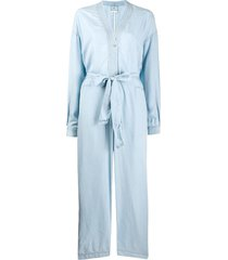 forte forte tie waist long-sleeved jumpsuit - blue