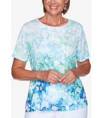 alfred dunner petite island hopping lace-front top