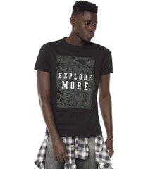camiseta fiveblu manga curta estampada preta - preto - masculino - algodã£o - dafiti