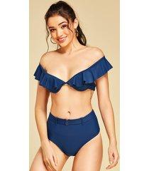 bikini con hombros descubiertos y diseño sin espalda azul oscuro