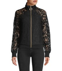 lace full-zip bomber jacket