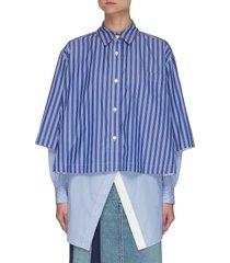 double layer stripe cotton poplin shirt