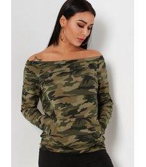 camouflage pocket design off the shoulder long sleeves t-shirts