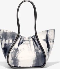 proenza schouler large tie dye ruched tote 8093 optic white/black one size