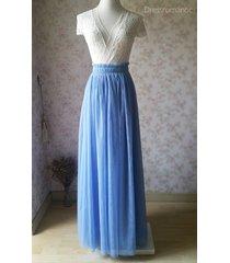dusty blue tulle maxi skirt full length blue wedding bridesmaid skirt plus size