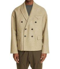 men's bottega veneta oversize double breasted wool blend jacket, size 40 us - beige