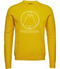 tristan-brushed wool gebreide trui met ronde kraag geel j. lindeberg