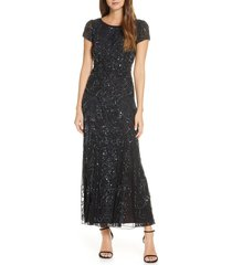 women's pisarro nights embellished lace gown, size 14 - black