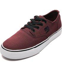 tenis skateboarding vinotinto-negro-blanco dc shoes flash 2 tx mx