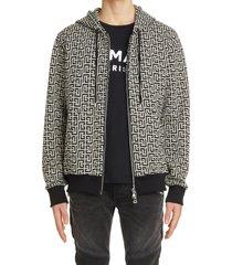 men's balmain monogram zip hoodie, size x-large - black