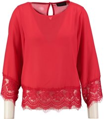 amélie & amélie rode polyester blouse 7/8e mouw
