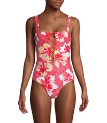 floral lace-up 1-piece swimsuit