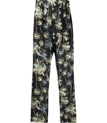 christian pellizzari lurex floral jacquard trousers - black