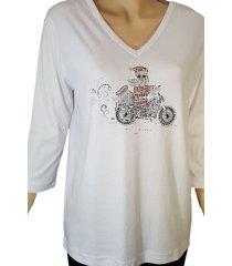 women's christmas motorcycle santa embellished rhinestone white shirt.