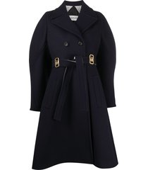 lanvin double-breasted logo buckle coat - blue