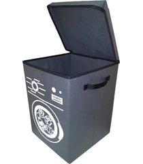 cesto para roupa suja organibox lavanderia - ccinza - cinza - dafiti