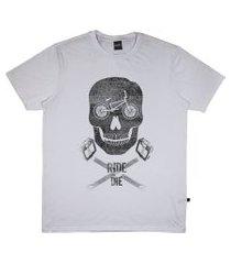 camiseta alkary caveira bmx branca