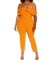 plus size women's lavish alice v-front off the shoulder jumpsuit, size 22w - orange