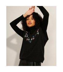 colete de tricô com bordado decote v preto