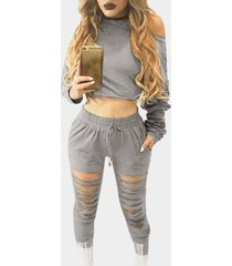 grey two piece outfits with cut out details