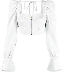 manokhi zip-up bustier crop top - white