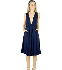 9bb12ad203 Vestidos - Com Decote Em V - Azul Escuro Estampado - 3 produtos com ...