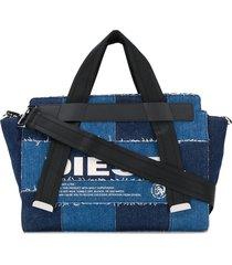 diesel patchwork denim tote - blue