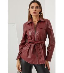 chaqueta de cuero de manga larga con diseño de cinturón frontal con cremallera yoins