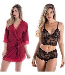 kit 02pçs robe feminino em microfibra e conjunto de calcinha e sutiã sem bojo em renda vermelho e preto diário íntimo