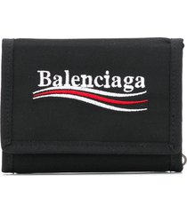 balenciaga explorer square coin wallet - black