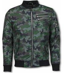 windjack justing bomberjack - camouflage print met 3 ritsen -