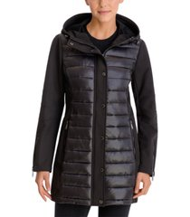 bcbgeneration mixed-media hooded water-resistant coat