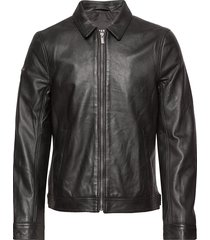 curtis light leather jacket leren jack leren jas zwart superdry