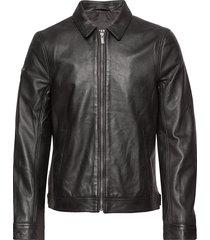 curtis light leather jacket leren jack leren jas zwart superdry