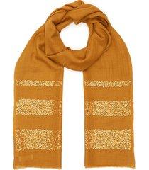 sequin embellished stripe cashmere silk blend scarf