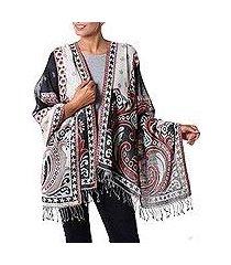 jamawar wool shawl, 'agra night' (india)