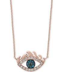 "effy diamond evil eye 18"" pendant necklace (1/6 ct. t.w.) in 14k rose gold"