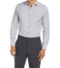 men's big & tall nordstrom trim fit stripe non-iron dress shirt, size 18.5 - 36/37 - grey