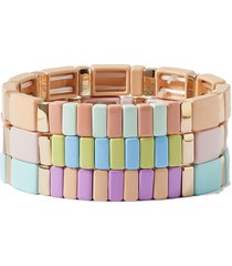 soft serve set of three enamel and gold-tone bracelets