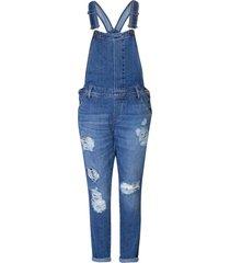 macacão jeans feminino destroyed - azul - feminino - dafiti