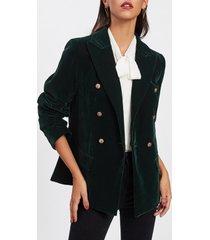 blazer peak velvet lapel green women jacket elegant work office  xs s m l new
