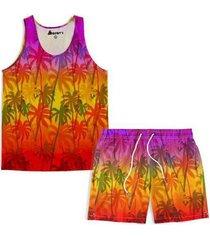 kit maravs regata verão + short moda praia coqueiros masculino - masculino
