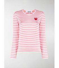 comme des garçons play striped cotton sweatshirt