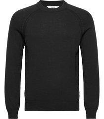 6202626, knit - sdluno o-neck organ stickad tröja m. rund krage svart solid