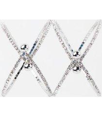 simone double pavé criss cross bracelet - silver