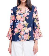 fever floral-print split-neck blouse