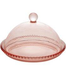 queijeira cristal pearl rosa 20x12cm