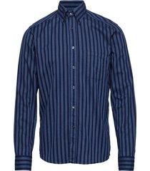 striped indigo flannel shirt overhemd business blauw eton