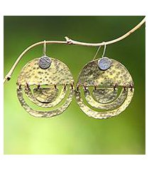 sterling silver and brass dangle earrings, 'kuta glimmer' (indonesia)
